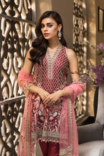 Anaya La Belle Soiree 2019 suit ROSELLE - Embroidered Organza maroon shirt with net dupatta3