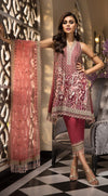 Anaya La Belle Soiree suit ROSELLE - Embroidered maroon organza shirt, silk trouser and net dupatta