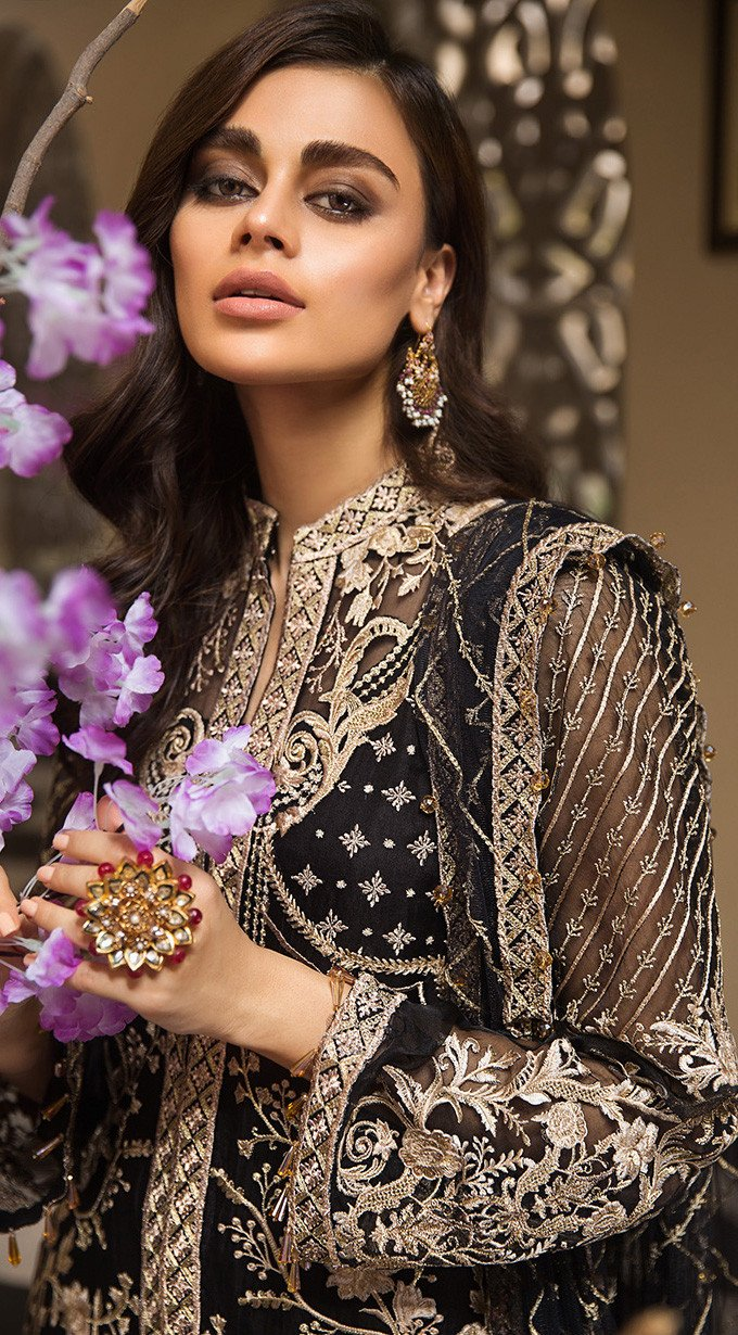 Anaya La Belle Soiree suit NORA - Embroidered Black Organza Shirt, silk trouser and embroidered net dupatta