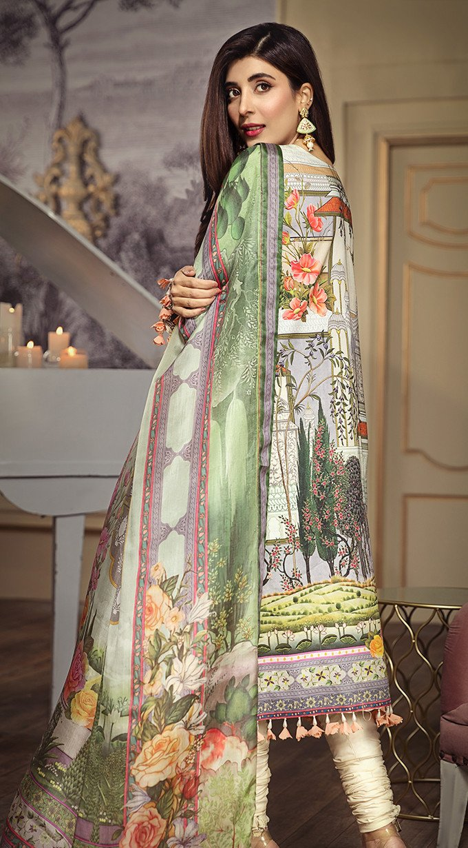 Anaya Lawn 2020 suit AL20-11 - EVA - Embroidered ferozi colour  shirt with pure silk dupatta