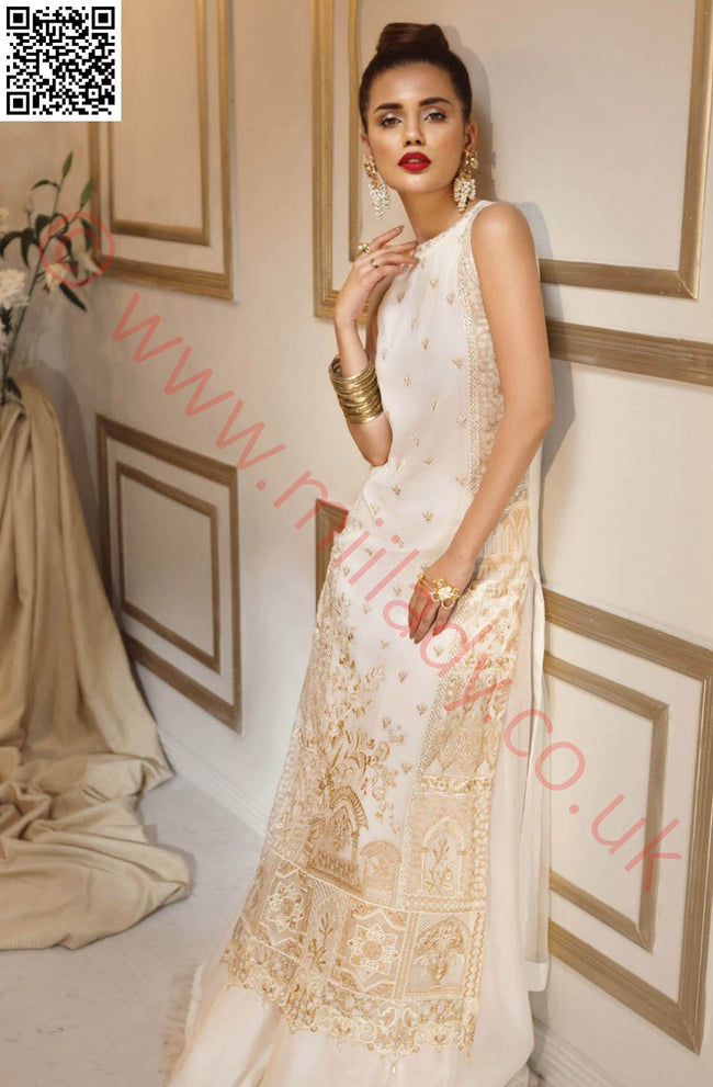 Anaya Luxury Festive suit White Fantasy - Embroidered Chiffon Kameez with printed silk dupatta