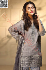 Anaya Luxury Festive suit Silver Baroque - Embroidered Net dupatta
