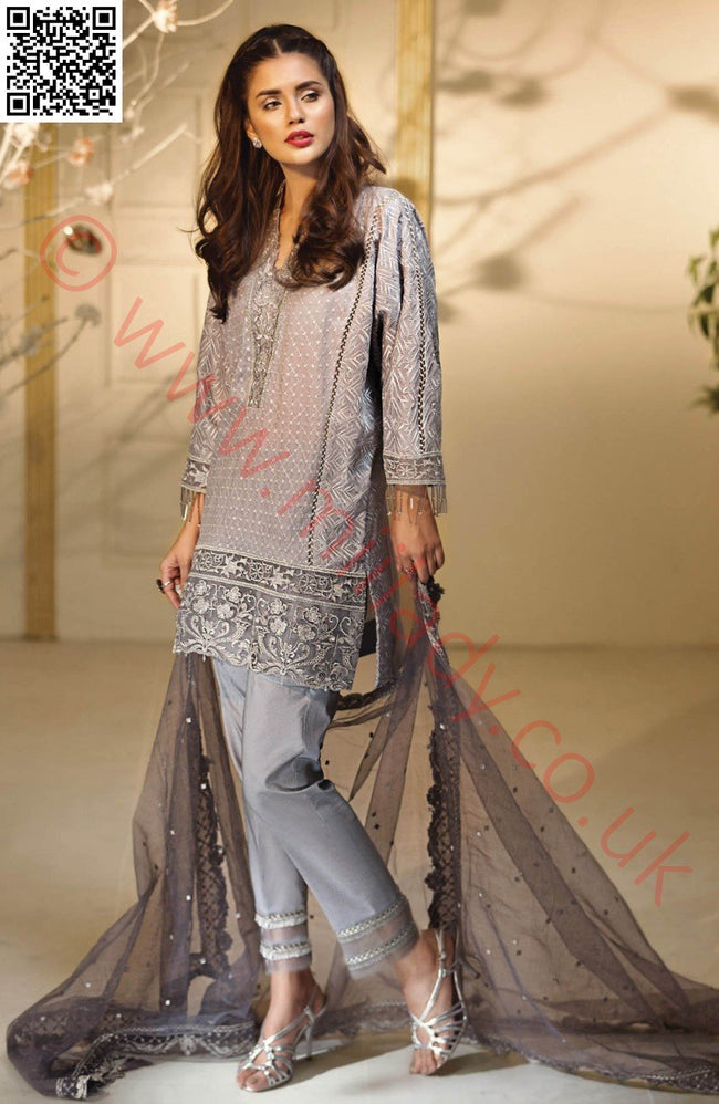 Anaya Luxury Festive 2018 suit Silver Baroque - Embroidered Kameez with Net dupatta