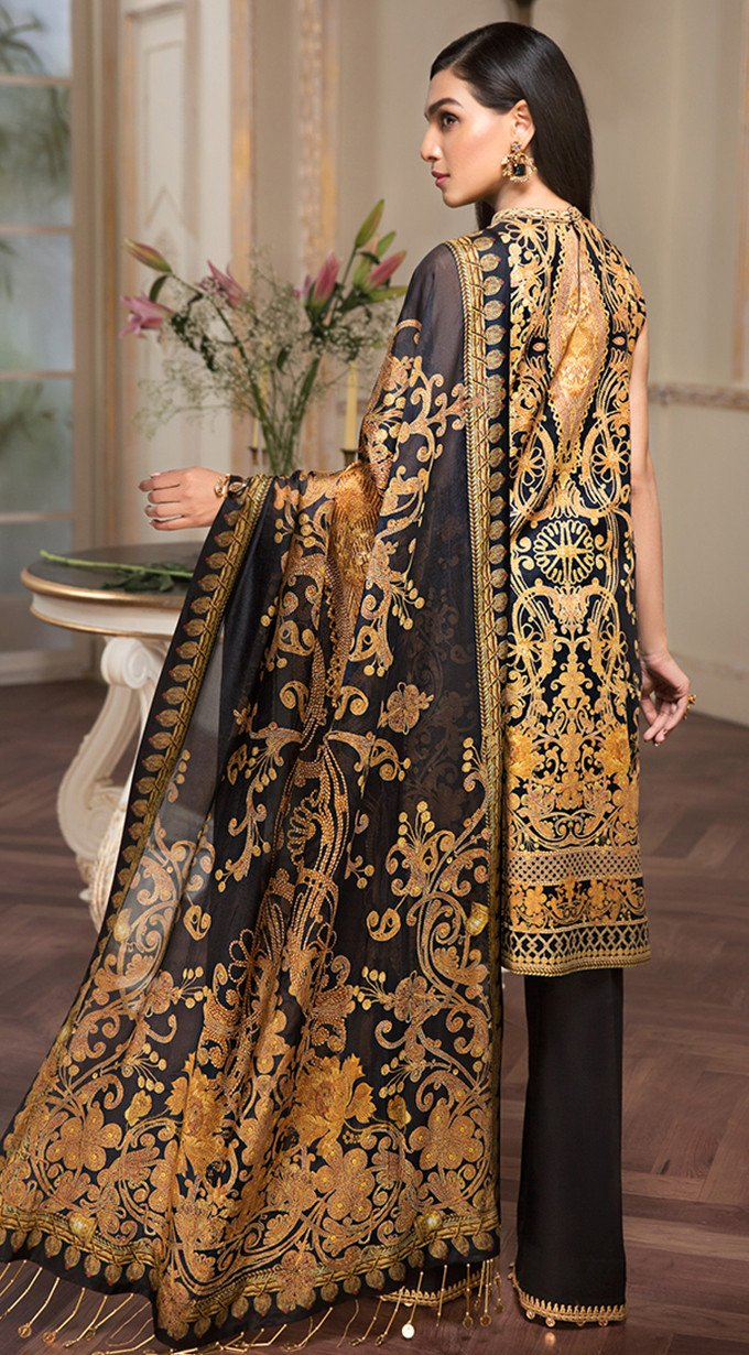 76a8d74657 Anaya Luxury Lawn 2019 suit EIRENE - Embroidered Black Kameez and printed silk  dupatta