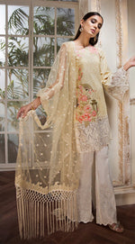 Anaya Luxury Lawn 2019 suit RHEA - Embroidered light yellow kameez, embroidered net dupatta and white bottom
