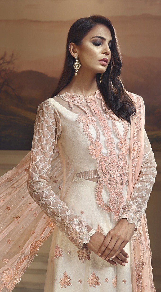Anaya Wedding Edition 2018 Peach Fantasy - Embroidered Net Kameez, Jacquard bottom and Net dupatta
