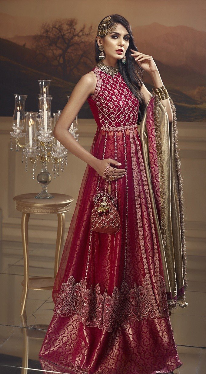 Anaya Wedding Edition suit Scarlet Blush - Maroon Embroidered Chiffon Kameez, Jacquard Lehnga and Tissue Dupatta
