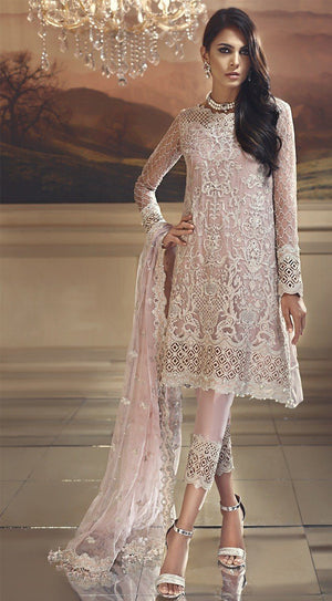 Anaya Wedding Edition suit Starlight Pink - Embroidered Pink Chiffon Kameez with Silk trouser