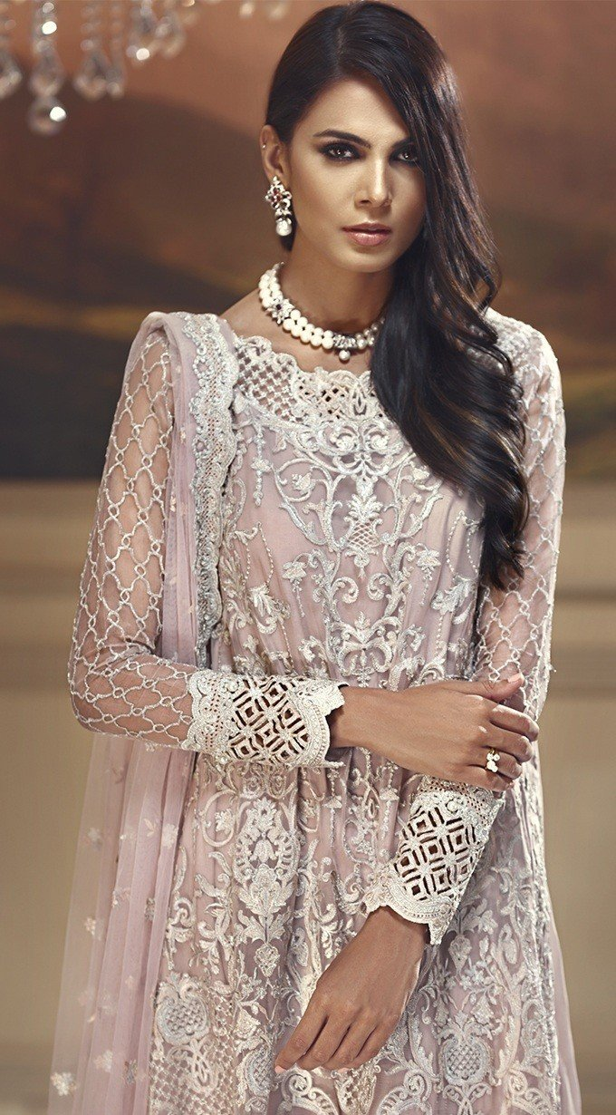 Anaya Wedding Edition 2018 Starlight Pink - Embroidered Chiffon Kameez with Net dupatta