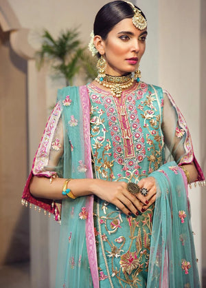 Anaya Isfahan 2019 Luxury suit Gulbahar - Embroidered Organza Ferozi shirt, net dupatta and jacquard trouser