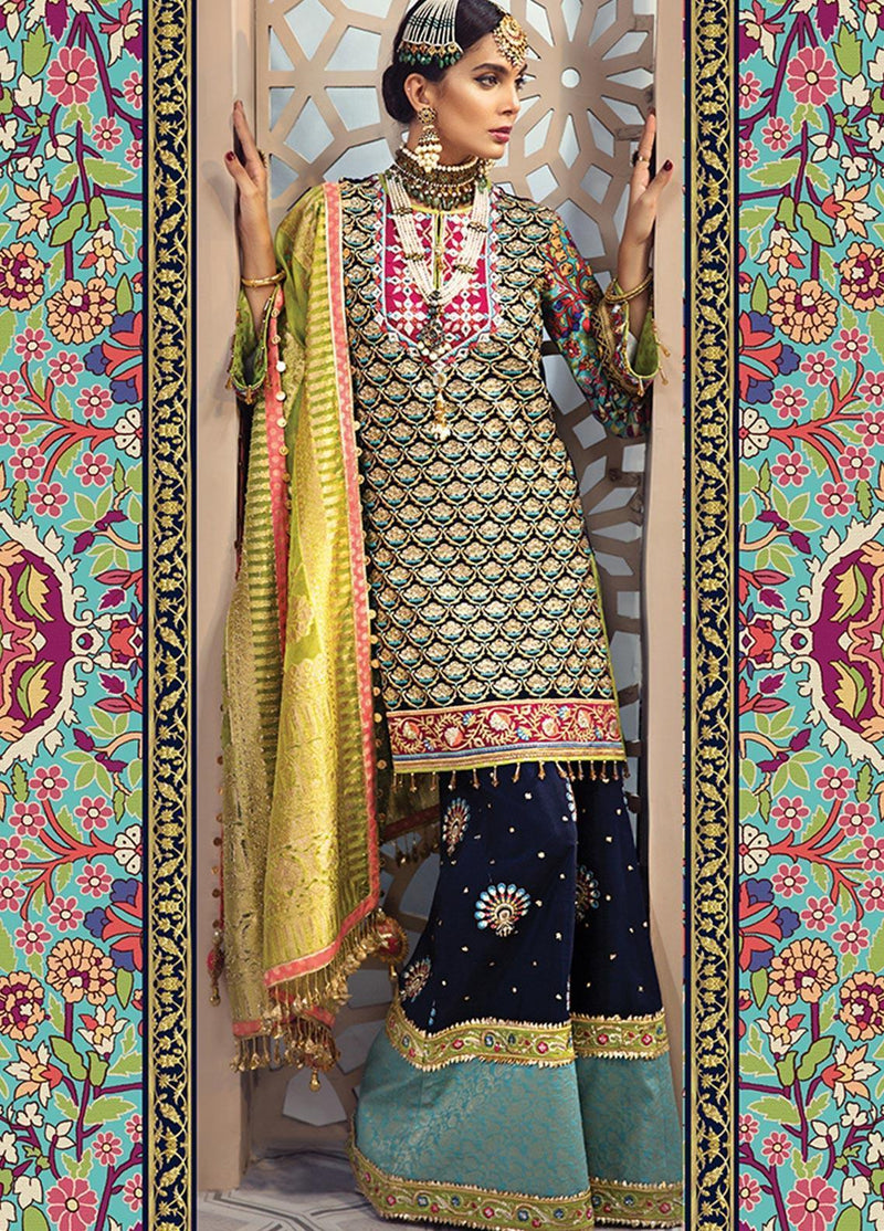 Anaya Isfahan 2019 Luxury suit Laila - Embroidered Chiffon navy blue shirt, orgazna jacquard dupatta and silk trouser