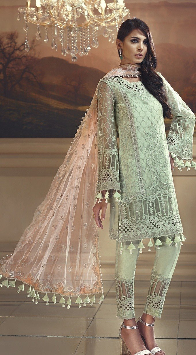 Anaya Wedding Edition 2018 Mint Melba - Embroidered Organza Kameez with Net dupatta