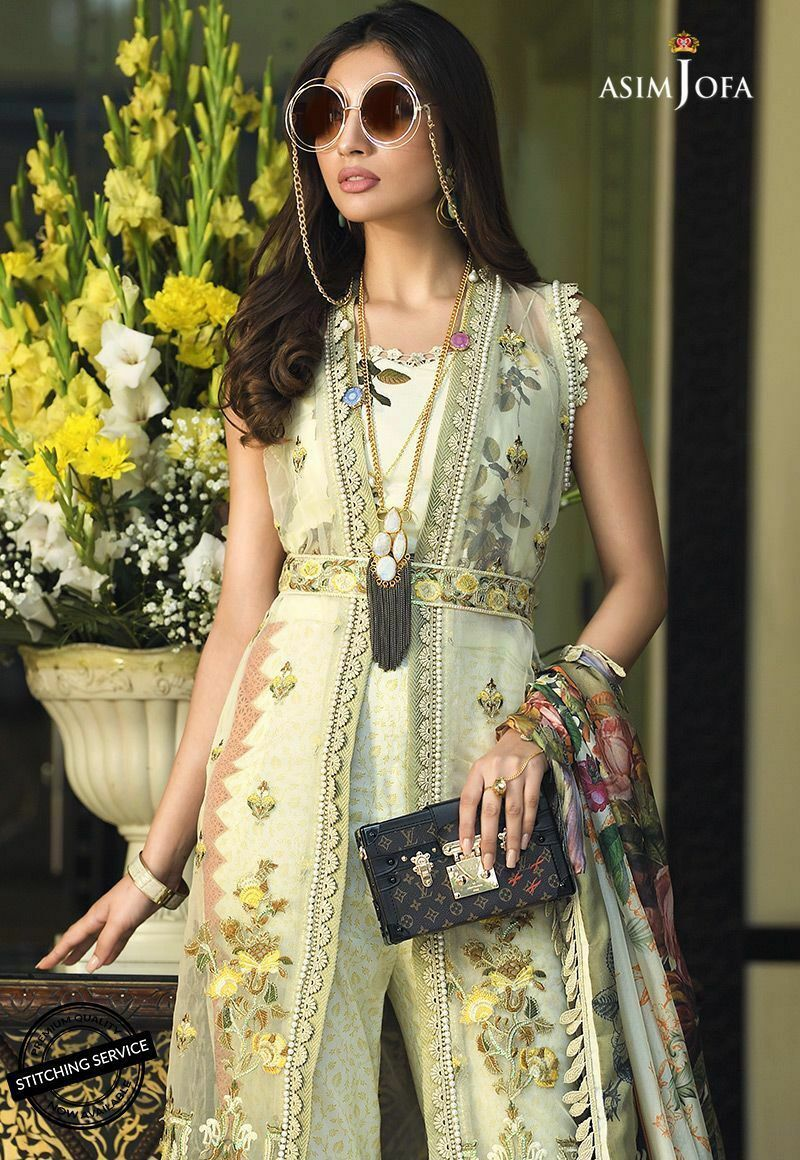 Asim Jofa Luxury Lawn 2020 suit AJL-4B - Embroidered green shirt with silk dupatta