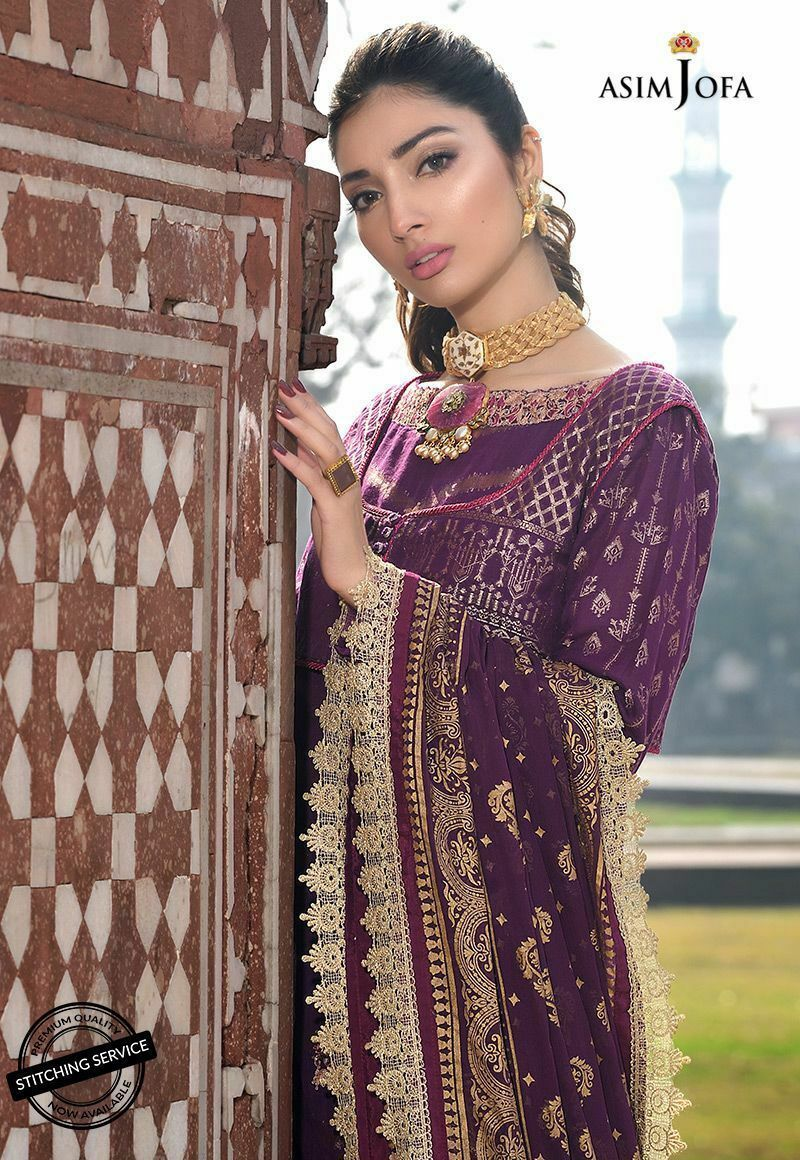Asim Jofa Luxury Lawn 2020 suit AJL-9A - Embroidered plum lawn shirt with printed chiffon dupatta