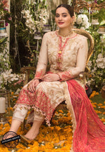 Asim Jofa Chiffon Collection suit AJN-09 - Embroidered silk shirt, dyed trouser and embroidered chiffon dupatta