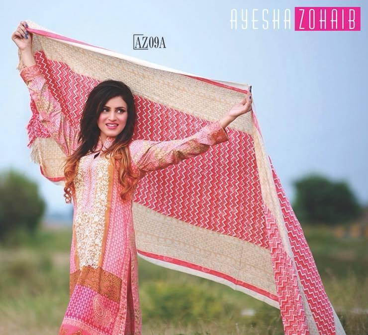Ayesha Zohaib Linen Stitched suit AZ09A - Stitched Pink Linen kameez with Printed Dupatta