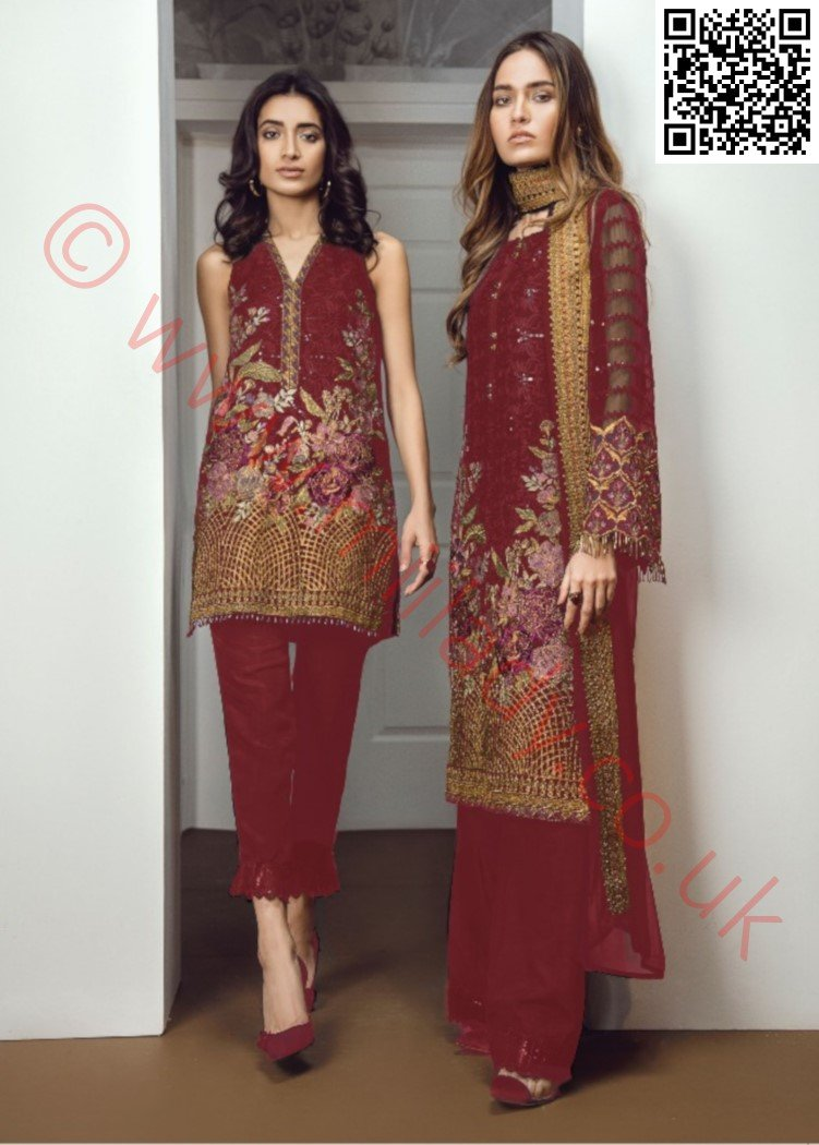 Baroque Chantelle 2018 Chiffon suit Enchant 07 - Maroon Embroidered kameez, sleeves with embroidered dupatta
