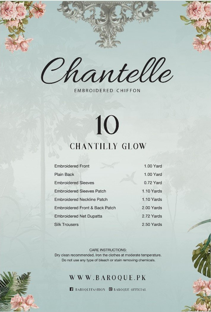 Baroque Chantelle 2018 suit Chantilli Glow - Mehndi Colour Kameez image description