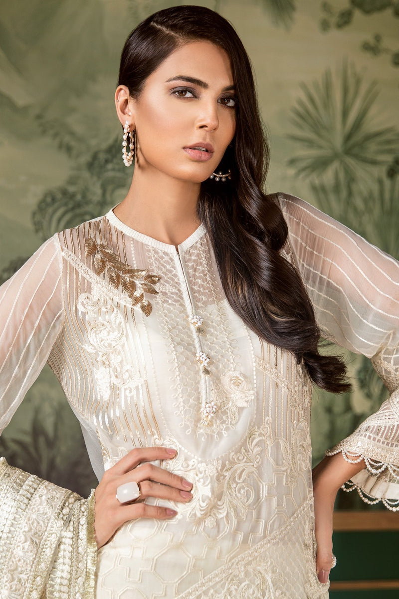 Baroque Classic White Luxury 2018 suit Regency White - Embroidered Pure Chiffon Kameez and Net dupatta
