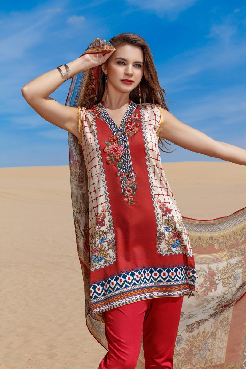 Baroque Fuchsia Lawn suit Rosabella - Red embroidered kameez, printed chiffon dupatta