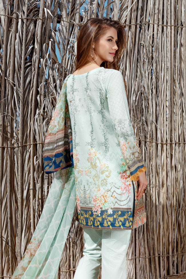 Baroque Fuchsia Vol 2 Lawn 2018 suit Water Lilly - Mint Blue Embroidered Kameez, printed chiffon dupatta