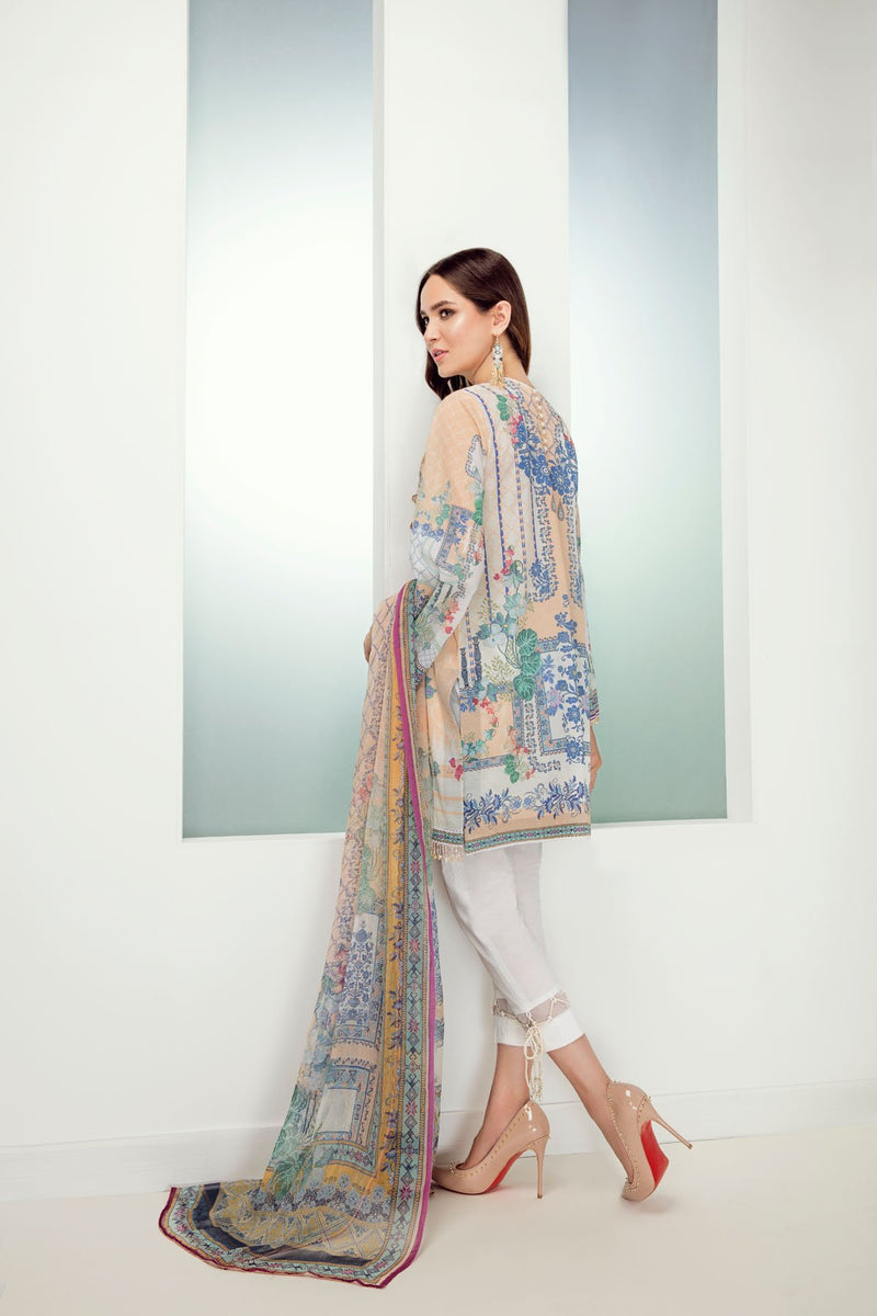 Baroque Fuchsia Lawn suit Orchid Travertine - Peach Embroidered Kameez with printed chiffon dupatta