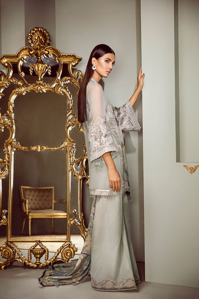Baroque Isabella Chiffon suit Diadem - Embroidered Kameez, Sleeves, Silk Trouser and Dupatta