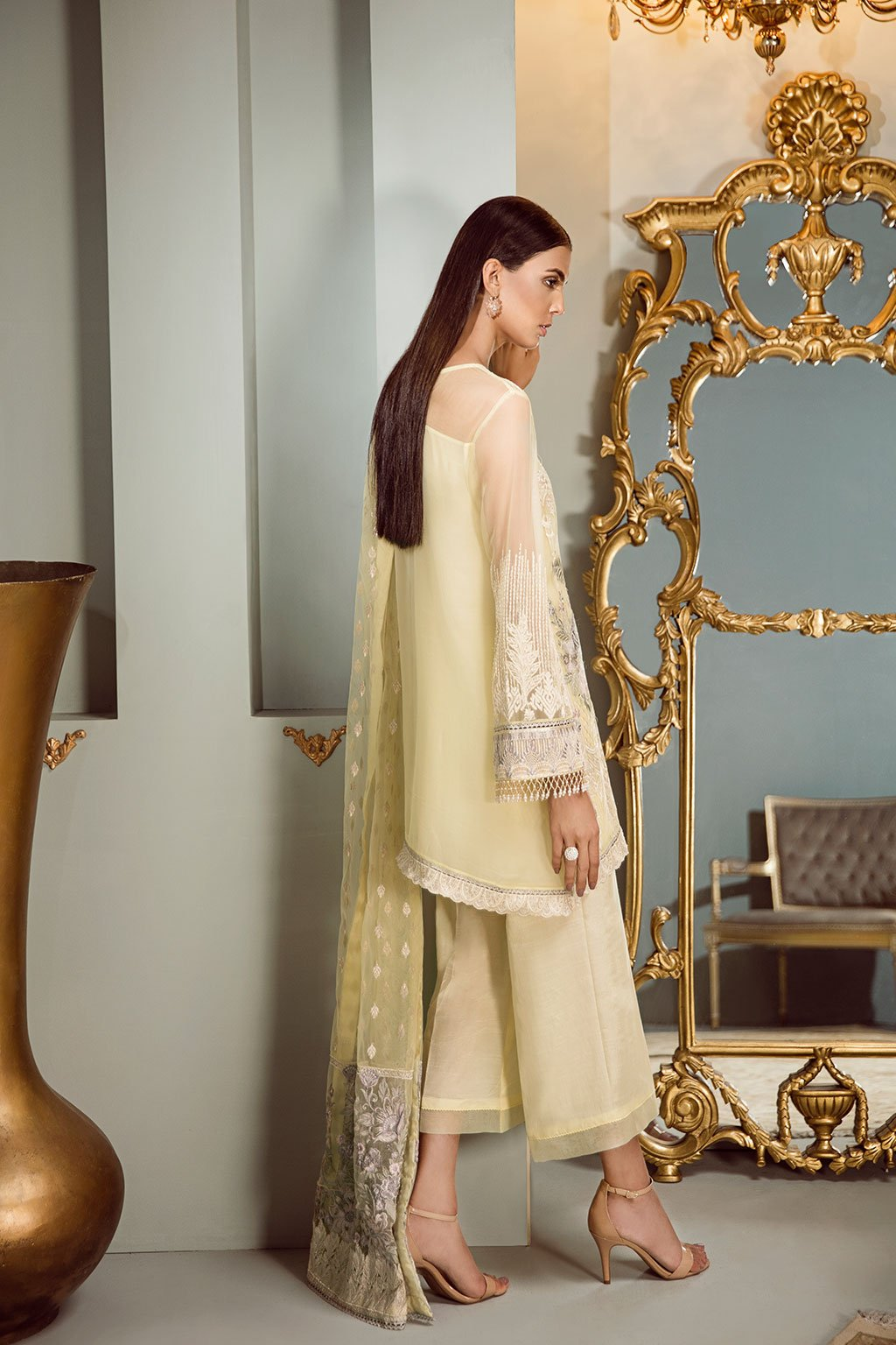 Baroque Isabella Chiffon suit Festal Tale - Embroidered Kameez, Sleeves, Silk Trouser and Embroidered Net Dupatta
