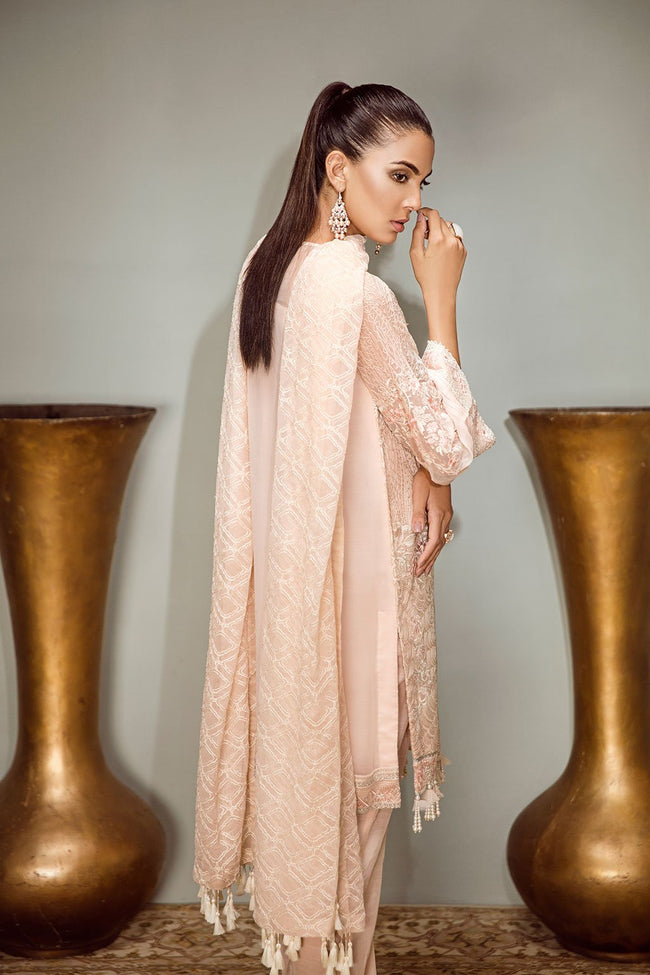 Baroque Isabella Chiffon 2018 suit Valse - Embroidered Pink Chiffon Kameez, Sleeves and Chiffon dupatta