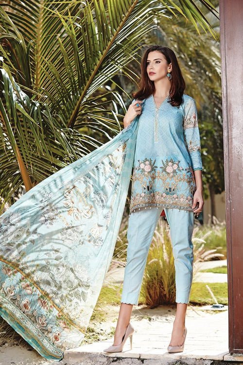 Baroque Isabella lawn 2018 suit Antheia - Embroidered kameez with digital chiffon dupatta