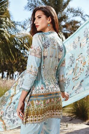 Baroque Isabella suit Antheia - digital Printed blue back with dyed salwar