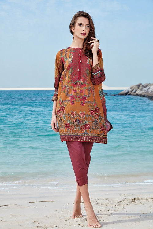Baroque Isabella lawn 2018 suit Avrill - embroidered kameez with digital printed chiffon dupatta