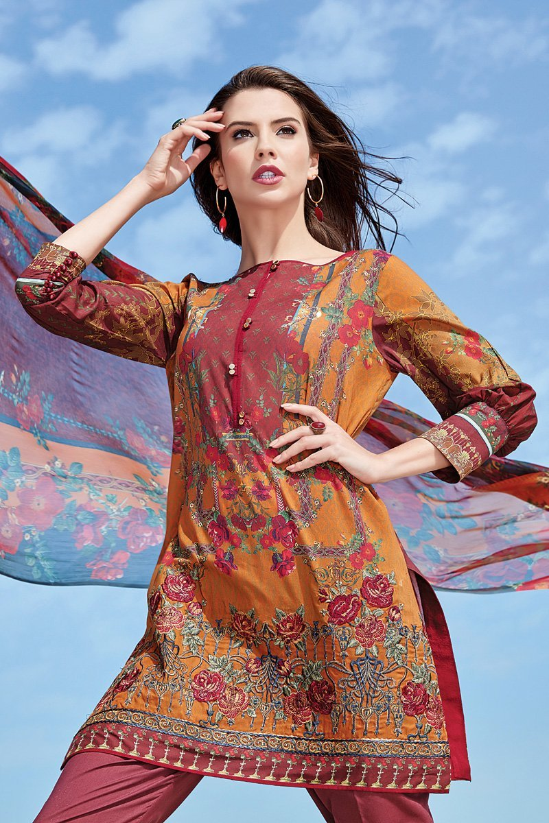 9969d34540 ... embroidered kameez with digital printed chiffon dupatta. Baroque  Isabella lawn 2018 suit Avrill. Baroque Isabella lawn 2018 suit Avrill