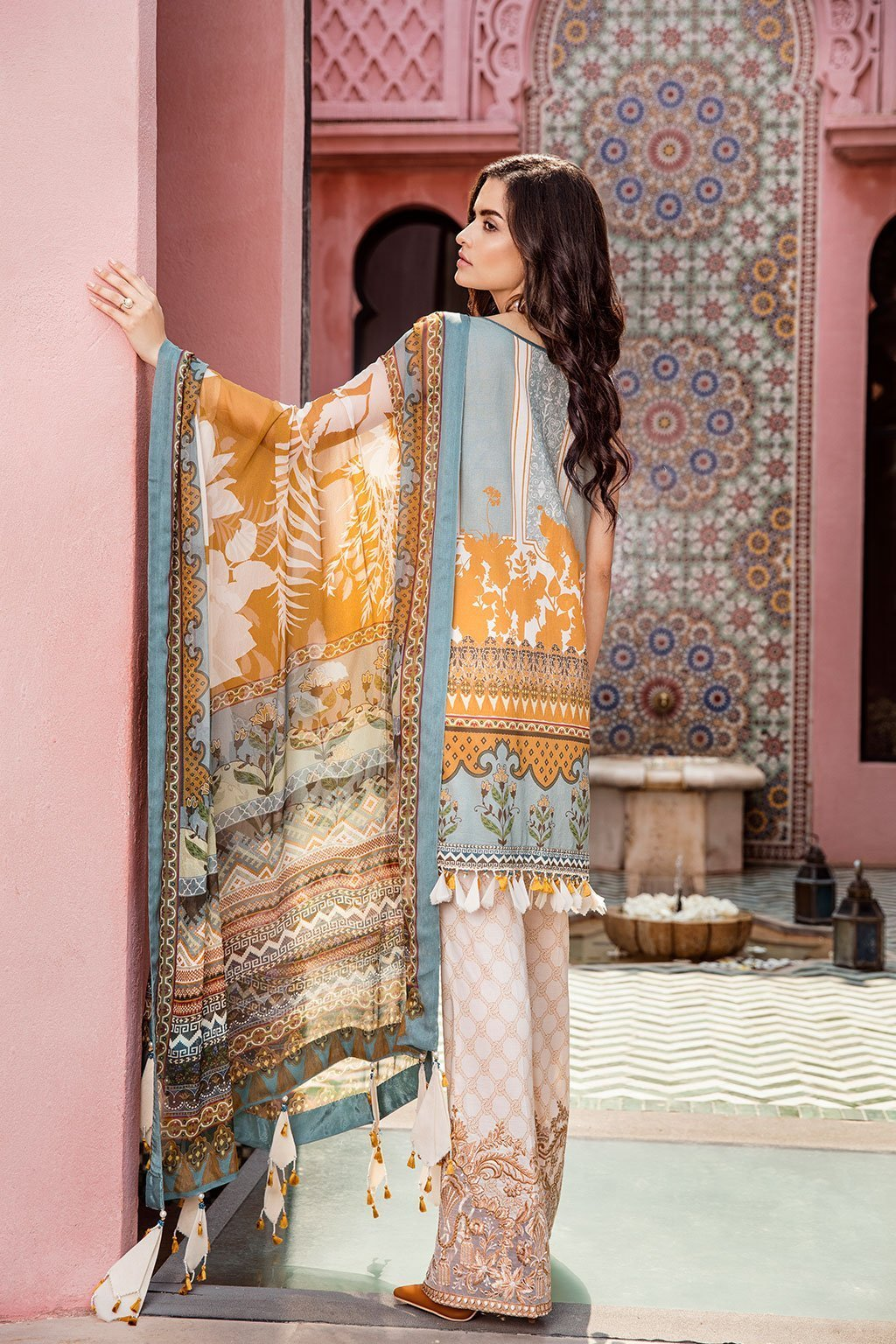 366bae1734 Baroque Lawn Summer 2019 suit Morning Glory - Embroidered yellow kameez's  front, printed back,