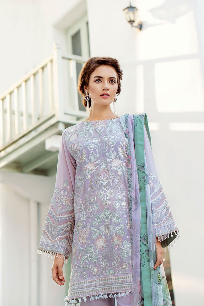 Baroque Swiss Voile suit Feisty - Embroidered Lilac kameez with printed chiffon dupatta