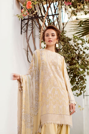 Baroque Swiss Voile suit Iceberg - Embroidered Gold Swiss Voile Kameez, embroidered dupatta