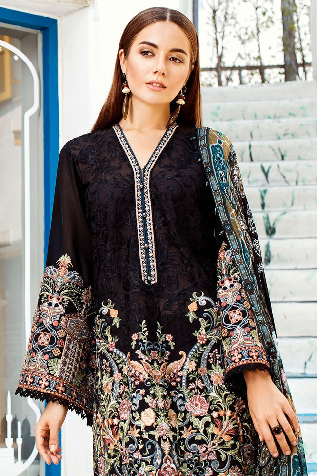 Baroque Swiss Voile Lawn suit Coal - Navy Blue heavy embroidered kameez front and sleeves