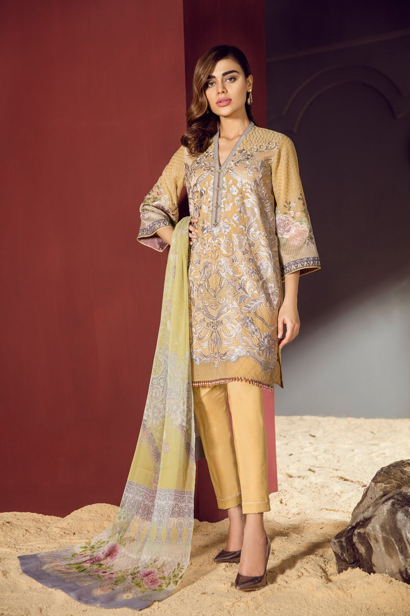 Baroque Swiss Voile Eid Collection 2018 Yellow Mist