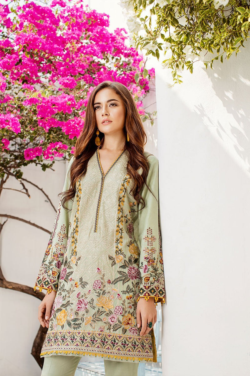 Baroque Swiss Voile 2019 suit Olive - Embroidered Mint Green Kameez and digital printed chiffon dupatta