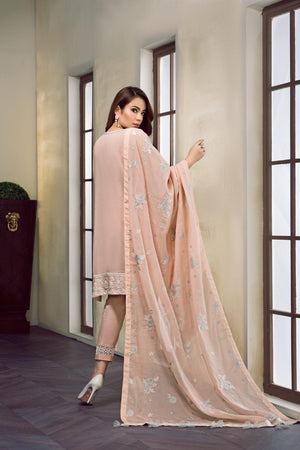 Baroque Swiss Voile Vol-2 2019 suit KAYLA - Unstitched Embroidered Peach Swiss Shirt with Jacquard dupatta