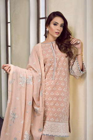 Baroque Swiss Voile suit KAYLA  - Peach Swiss Voile Kameez, dyed cambric trouser and cotton jacquard scarf
