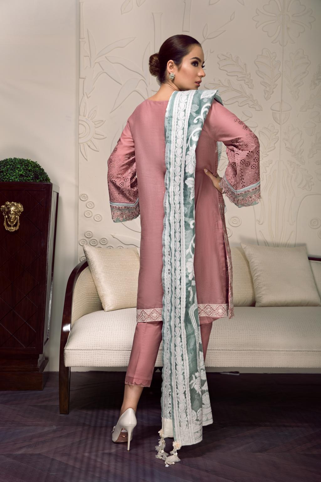 Baroque Swiss Voile Vol-2 2019 suit ZOEY- Embroidered Dusky Pink Swiss Shirt, cambric trouser and jacquard dupatta