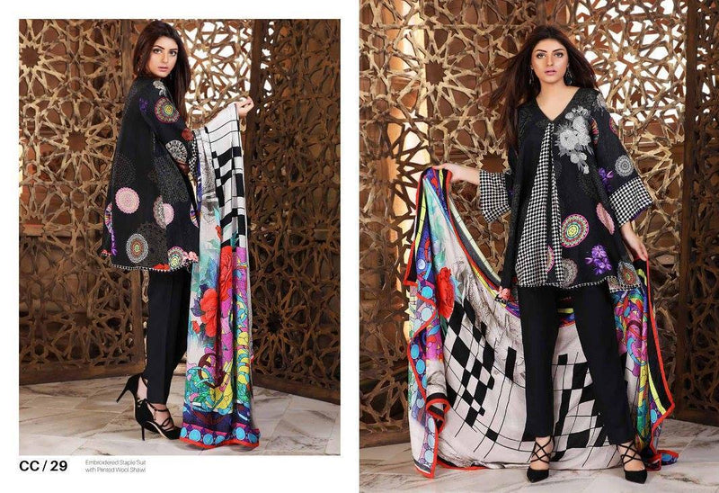 Charizma Combination Linen Vol3 CC-29 - Embroidered Black Salwar kameez