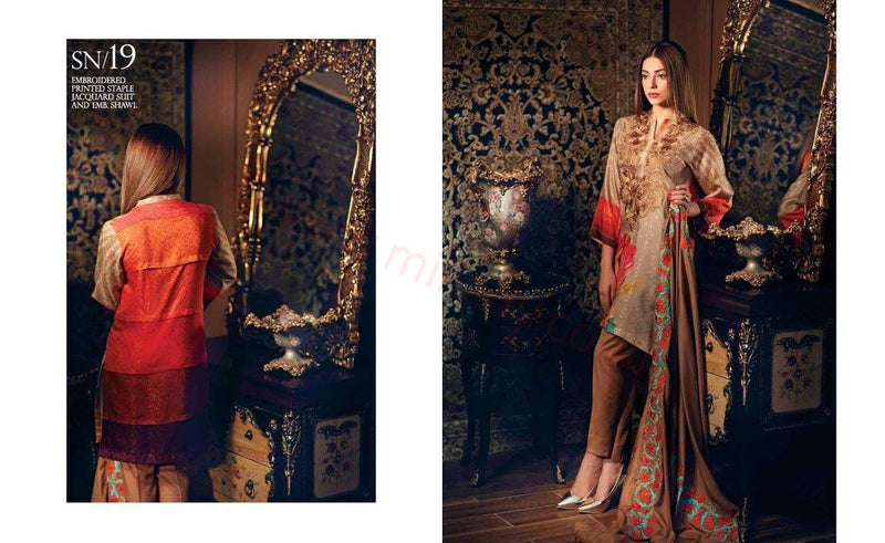 Charizma Naranji Linen Vol 2 SN19 - Embroidered Linen Beige Kameez with shawl
