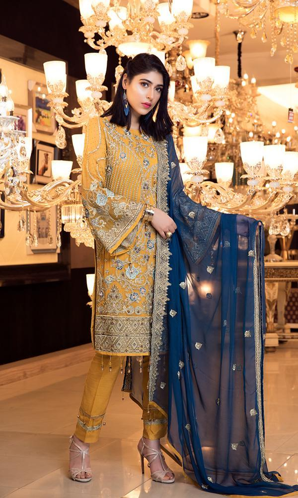 Elaf Premium Chiffon Vol-3 2019 suit EL-302 - Embroidered Mustard Shirt with Chiffon Dupatta