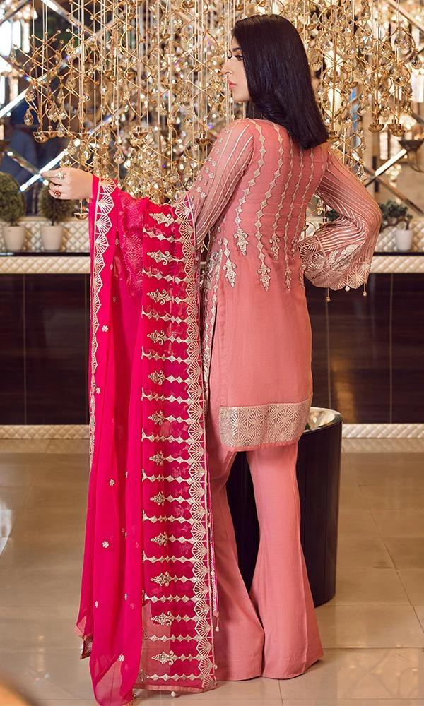 Elaf Premium Chiffon Vol-3 2019 suit Punch Pink EL-305 - Embroidered Pink/Coral Chiffon Kameez, Dyed Bottom and Embroidered Chiffon Dupatta