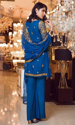 Elaf Premium Chiffon Vol-3 2019 suit Berkshine Blue - Embroidered Blue Chiffon Shirt with Embroidered Dupatta