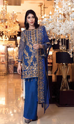 Elaf Premium Chiffon Vol-3 2019 suit Berkshine Blue EL-304