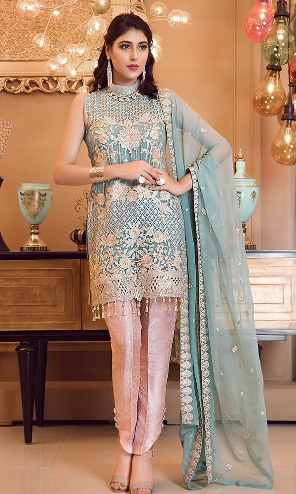 Elaf Premium Chiffon Vol-3 2019 suit Pale Turquoise - Embroidered Ferozi Chiffon Shirt, Embroidered Dupatta and jamawar trouser