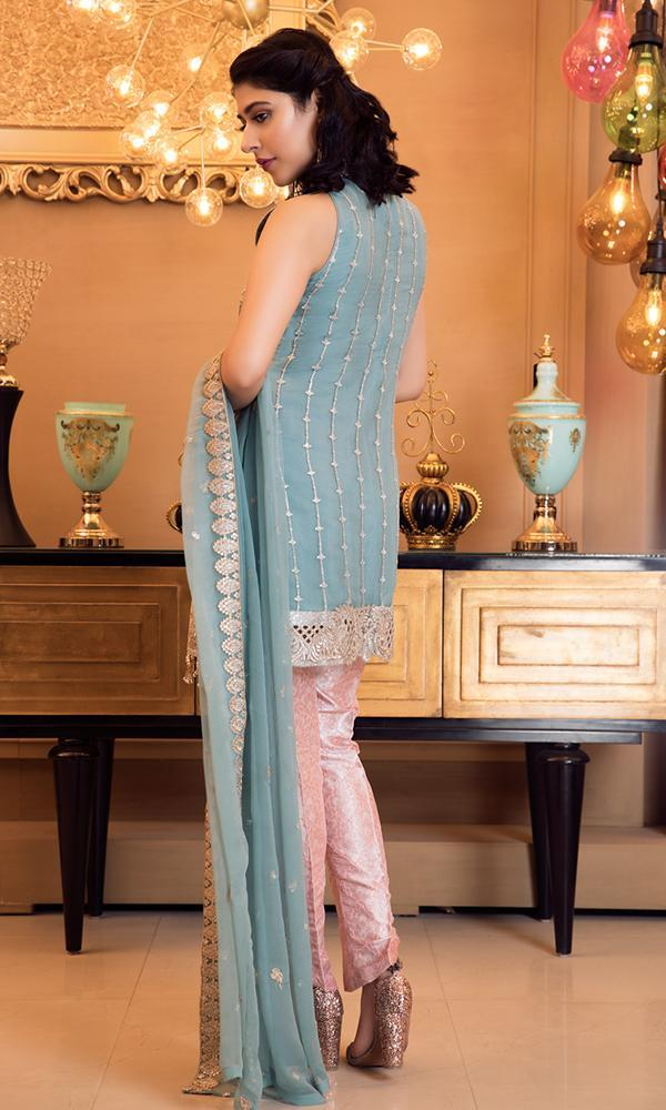 Elaf Premium Chiffon Collection Vol-3 2019 suit Pale Turquoise